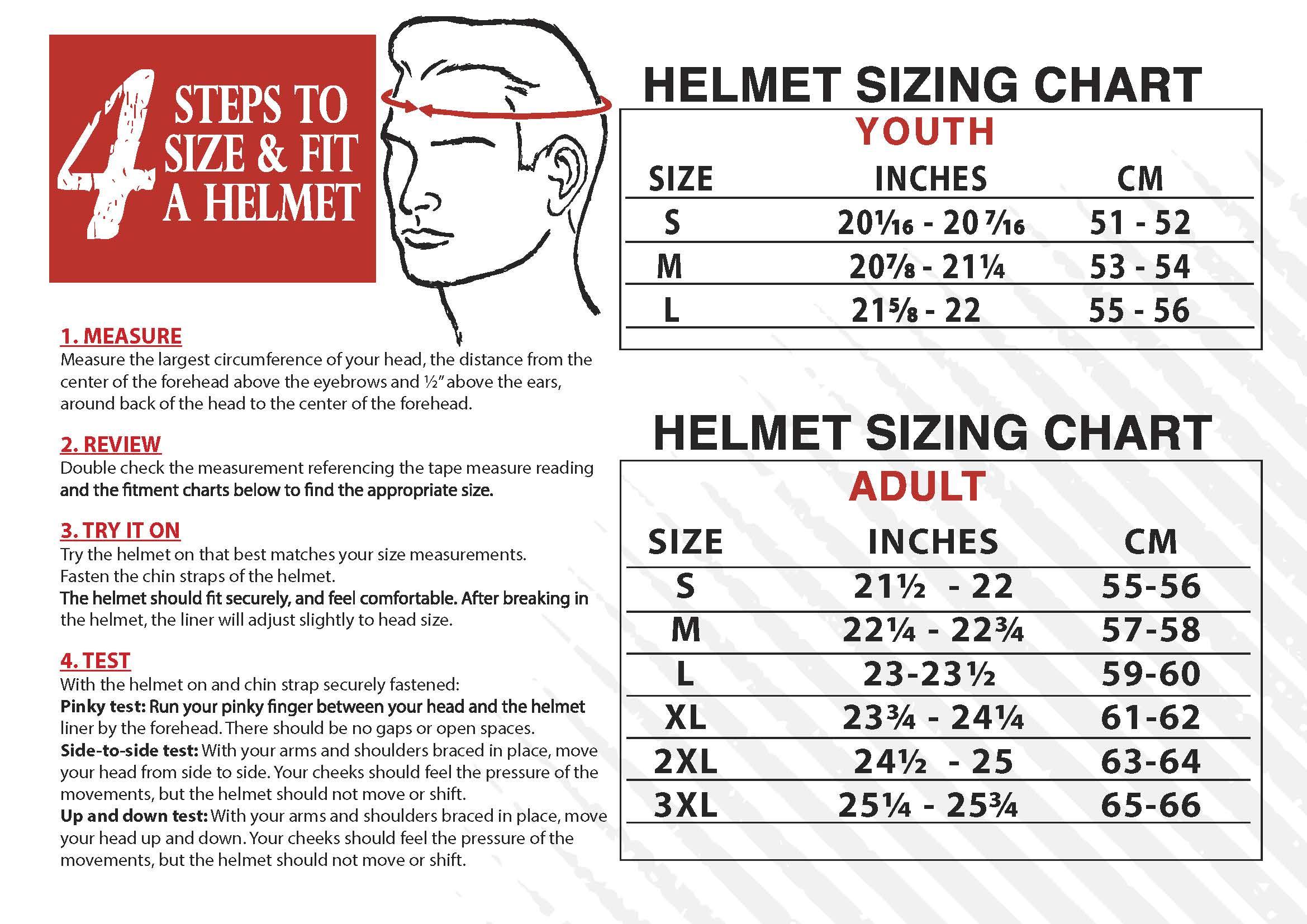 Helmet Fitting/Size Chart