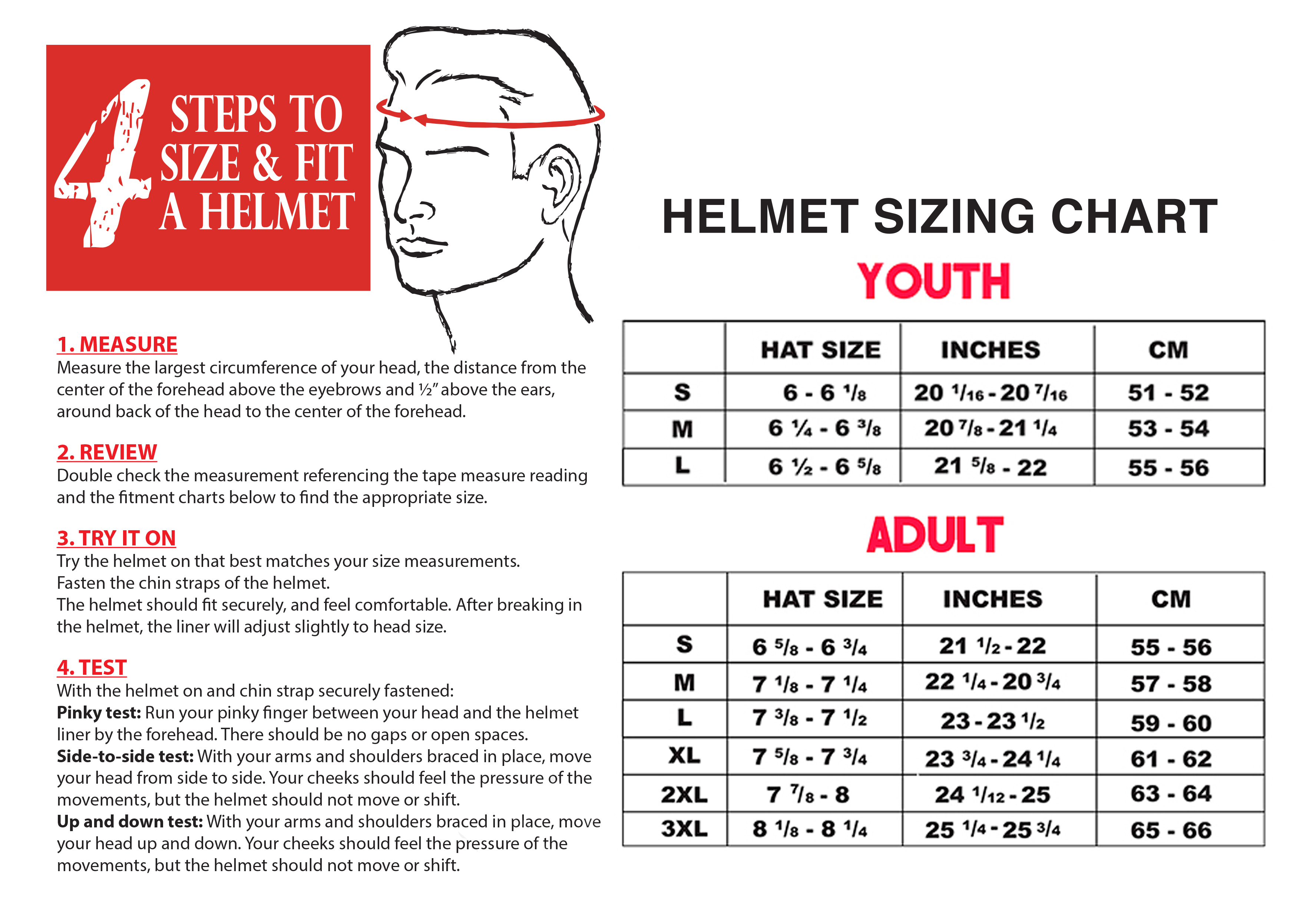 Helmet Fitting/Size Chart