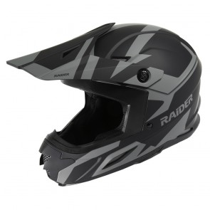 Raider Adult Off Road Z7 MX Helmet - (Black/Grey)